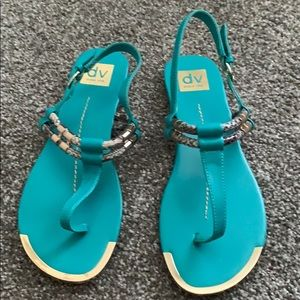 Teal and Snake Skin Thong Sandals